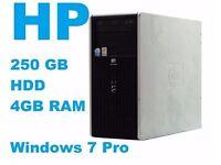 HP DC5700 Microtower Core(TM)2 Duo 4GB RAM 250GB HDD Win 7 Pro Refurbished