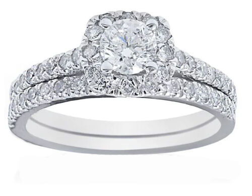 2.50 Carat Round Shape Diamond Bridal Ring Set GIA Certified 18k White Gold