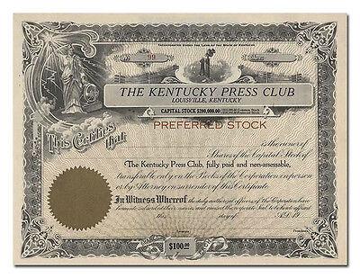 Kentucky Press Club Stock Certificate