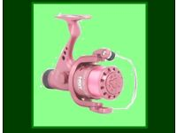 CARP STALKING PINK ROD and REEL SET - 8' ROD with 2 lb tc., size 30 RD NGT REEL with 8 lb line
