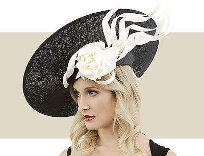 NWT AUTH PHILIP TREACY BLACK & IVORY SKULL SLICE BUNTAL ROSE KENTUCKY DERBY HAT