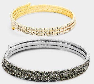 Crystal Rhinestone Evening Bridal Bracelet 3 Row Bangle Thin Adjustable Coil -