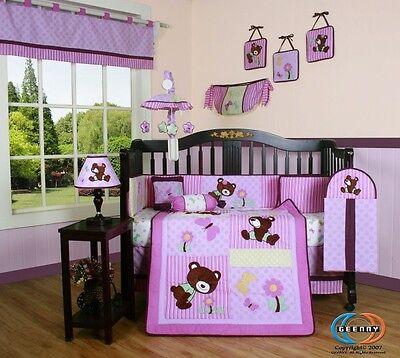Baby Boutique Girl Teddy Bear GEENNY 13PCS Nursery CRIB BEDDING SET