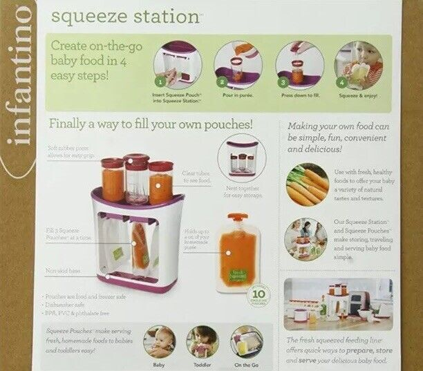 Infantino Squeeze Station Baby Food Maker With 89 Pouches