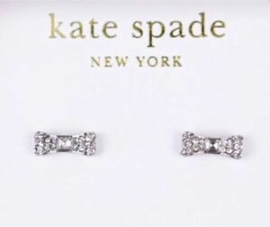 BNWT Authentic Kate Spade Silver Bow Earrings