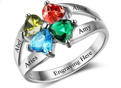 Personalized Sterling Silver 4 Heart Birthstone & 4 Name Mothers Family Ring ()