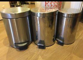 3 stainless steel bins / trash bins / dustbins