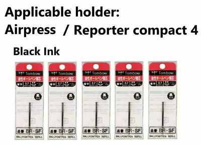 5×Tombow 0.7mm Black Ink Refill , for Tombow Airpress,Reporter compact -