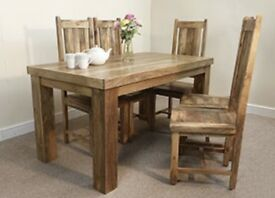 Solid mango wood dining table set with 6 chairs