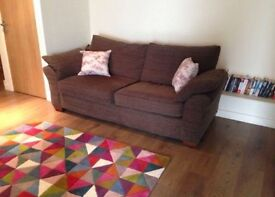 Next 3 seater sofa in brown/gret