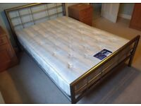 Metal double bed with silent night mattress in excellent condition