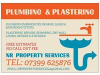 PLUMBER & PLASTERING SERVICES FREE ESTIMATES no call out fee