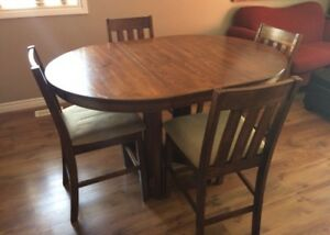 5 piece bar height dining table and chairs