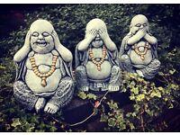 3 buddahs garden ornaments