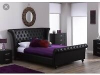 Dreams angel black faux bed frame (Size Double)