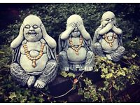 Buddahs set of 3 concrete
