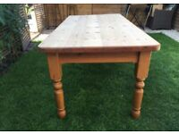 Strong sturdy solid pine farmhouse dining table, 6ft long, great condition, thick top, 7ft available
