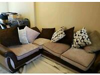 Brown and cream corner sofa for sale