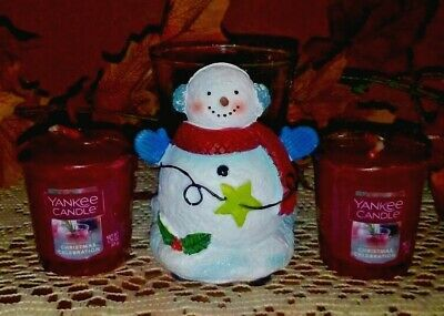 Lot 3 Yankee Candle (2)CHRISTMAS CELEBRATION Votives/Snowman Candle Holder, BNWT