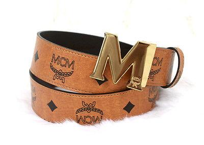 New Authentic MCM Men's Brown/Black Reversible Leather Belt 115cm 40-46