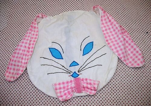 VINTAGE HANDMADE ADORABLE LOP EAR BUNNY FACE PAJAMA BAG PINK & WHITE TLC