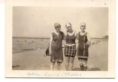 Flapper Fashion Beach Women In Wool Swimsuits & Bathing Caps Vintage 1920s Photo for sale  Thomasville