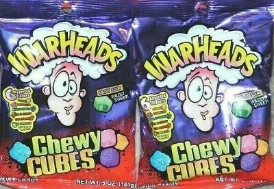 Warheads Chewy Cubes 6 Assorted Flavors Mildly Sour/Wildly Sweet{LOT OF 2 BAGS} - Warhead Jelly Beans