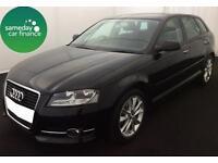 £224.97 PER MONTH BLACK 2013 AUDI A3 SPORTSBACK 1.6 TDI SPORT 5 DR DIESEL MANUAL