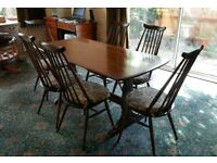 Beautiful 1970s Vintage Ercol Dining Table and 6 Chairs