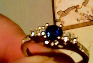 Sterling silver Blue Sapphire ring.  Size 9