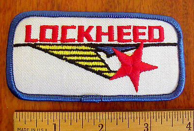 "LOCKHEED AIRCRAFT AVIATION LOGO 4"" x 2"" EMBROIDERED RED WHITE BLUE IRON-ON PATCH"