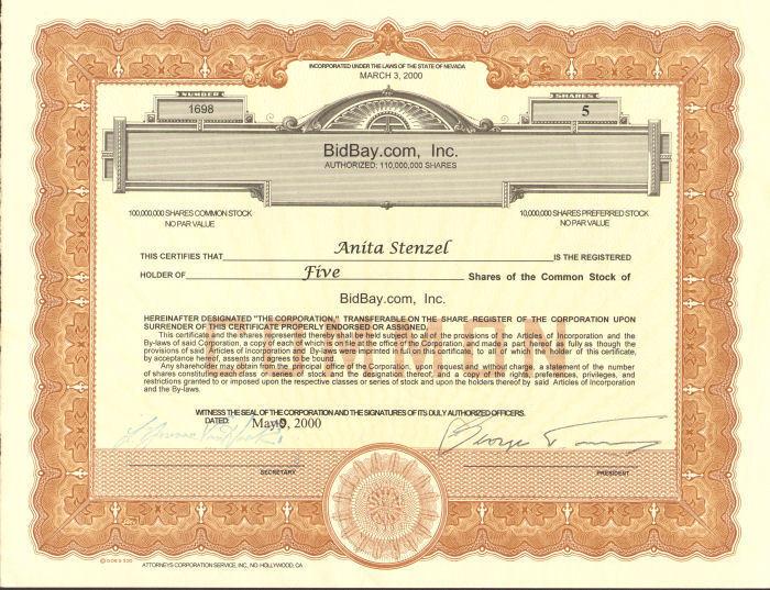BidBay.com stock certificate > failed eBay competitor