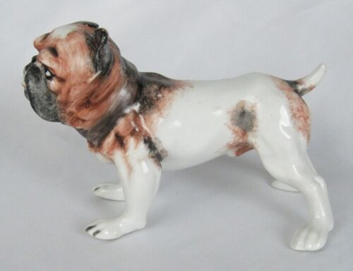 Old Hand Painted Porcelain Anatomically Correct Scruffy Grumpy Bulldog Figurine