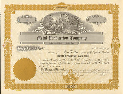 Metal Production Company   California Gold Mining Stock Certificate Share