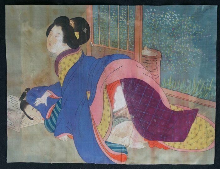 Japan painting Shunga 1880s antique Japanese erotic art craft