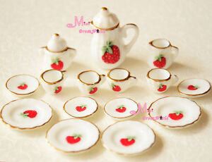 Lot of 15 Strawberry Porcelain Dollhouse Miniature Coffee Tea Cup Set DC38