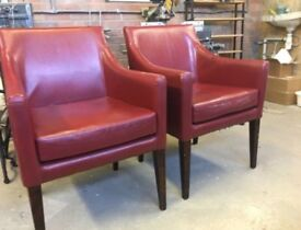4 Marching Armchairs Dining Chairs In Faux Leather Burgundy Red Wooden Legs