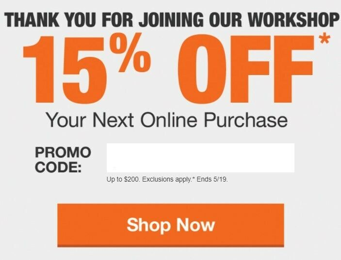 Home Depot 15% Off Online Purchase, Max Savings $200 - EXP 5/19/21