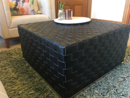 Woven Leather Coffee Table/Ottoman Black-Brown