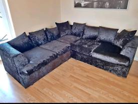 Dylan Crushed Velvet Corner Sofa Can Deliver
