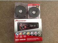 Pioneer car stereo and speakers