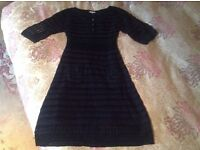 Genuine Karen Millen Black Crochet Knit Dress size 3 UK 10-12