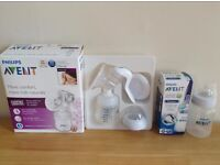 Manual breast pump Philips AVENT and feeding bottle 1m+