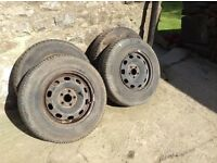set of 4 tyres and rims Golf 175/80/R14