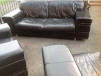 3 1 1 black leather sofa