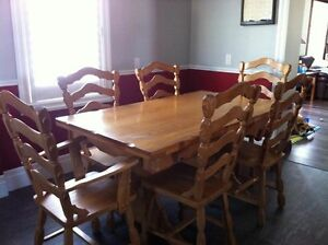 Hand crafted oak dining set
