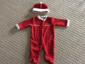 Santa's Helper Fleece Sleeper Christmas Outfit with matching hat