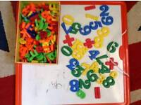 Magnetic board with letters and numbers