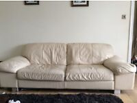 Cream Leather 4 Seater, 2seater, Chair and pouffe