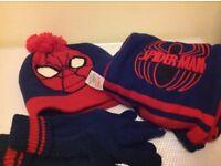 Spiderman hat, glove and scarf set